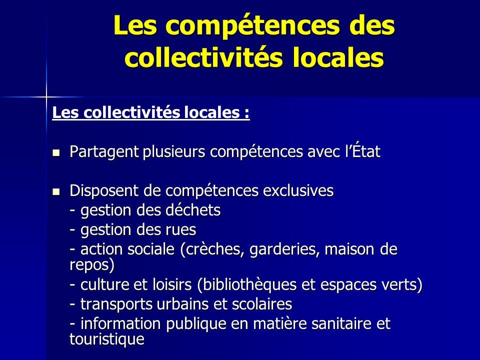Les compétences des collectivités locales Les collectivités locales : Partagent plusieurs compétences avec lÉtat Partagent plusieurs compétences avec