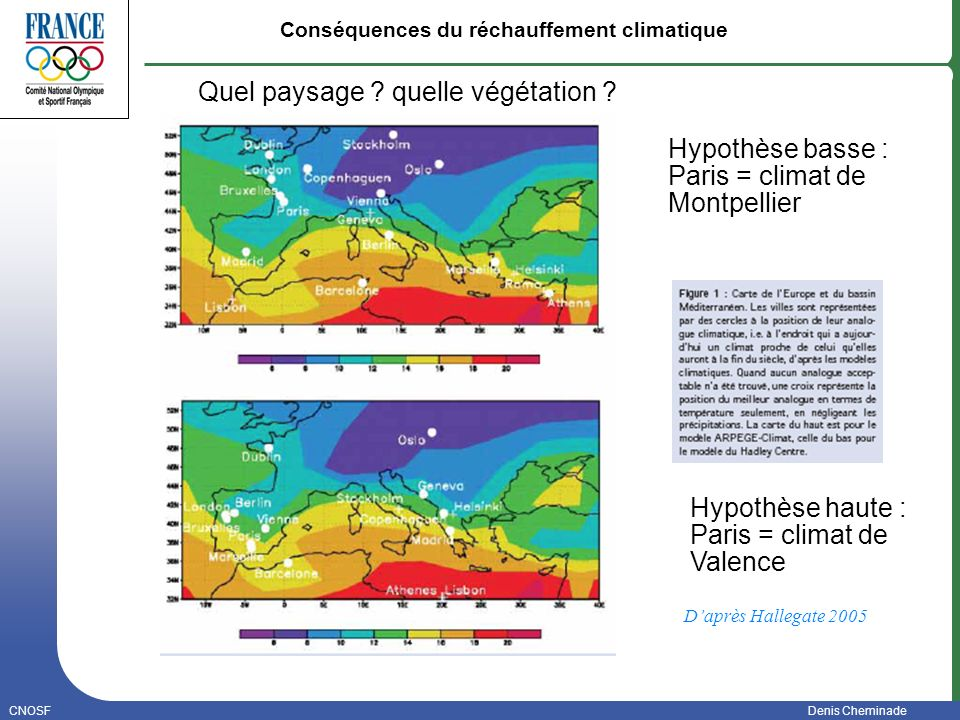CNOSFDenis Cheminade Janvier 2006 Daprès Hallegate 2005 Conséquences du réchauffement climatique Hypothèse basse : Paris = climat de Montpellier Hypot