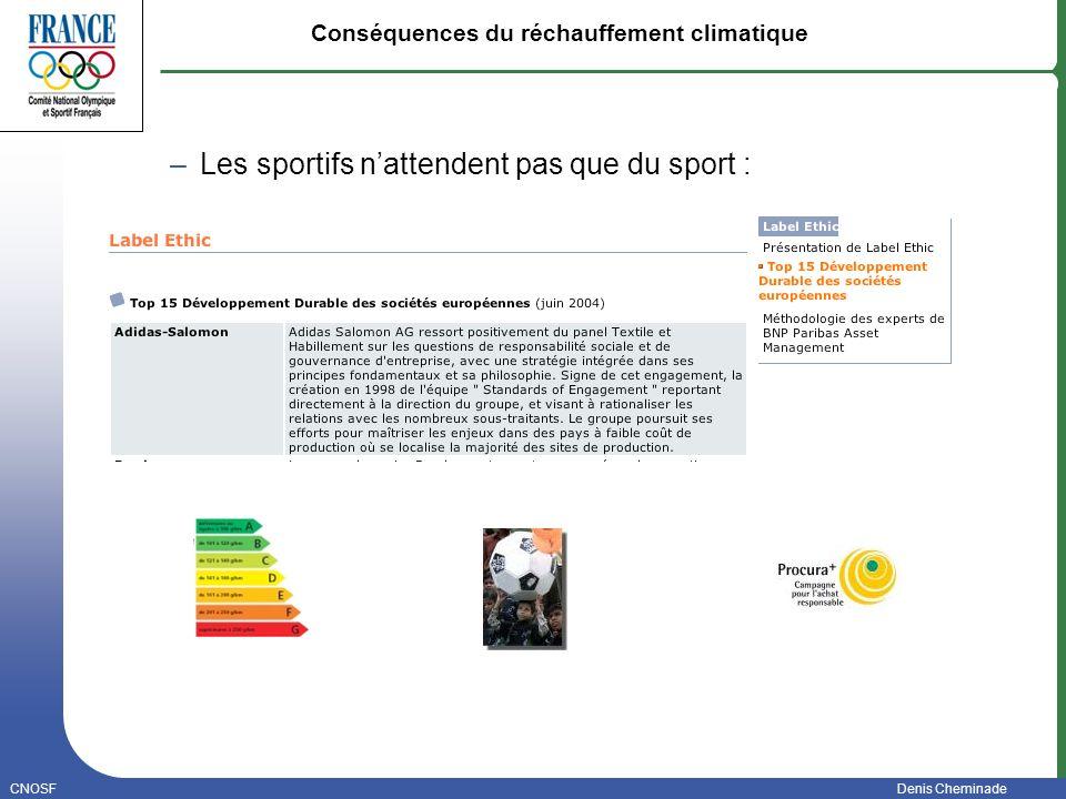 CNOSFDenis Cheminade Janvier 2006 Conséquences du réchauffement climatique – Les sportifs nattendent pas que du sport :