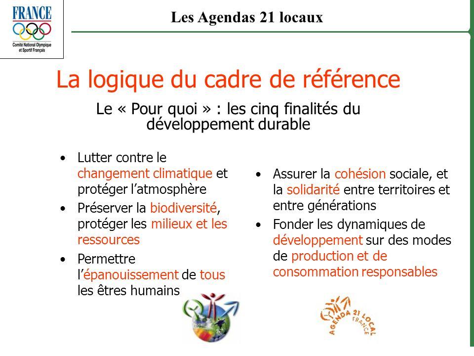 La logique du cadre de référence Le « Pour quoi » : les cinq finalités du développement durable Lutter contre le changement climatique et protéger lat