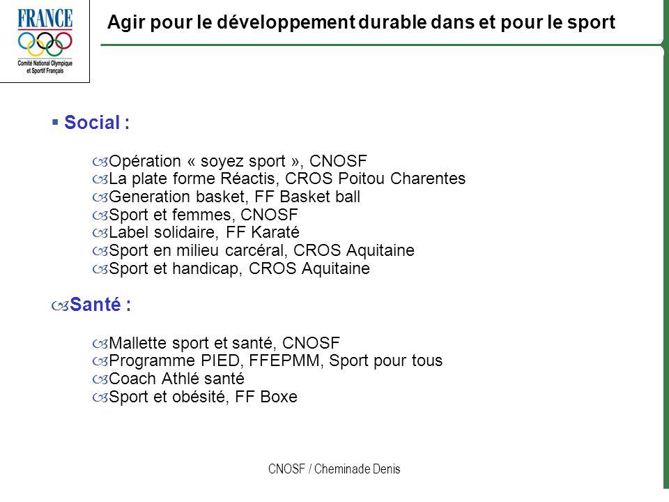 CNOSF / Cheminade Denis Social : –Opération « soyez sport », CNOSF –La plate forme Réactis, CROS Poitou Charentes –Generation basket, FF Basket ball –