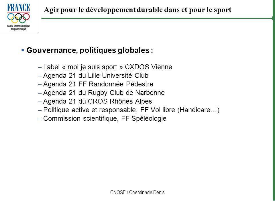 CNOSF / Cheminade Denis Agir pour le développement durable dans et pour le sport Gouvernance, politiques globales : –Label « moi je suis sport » CXDOS