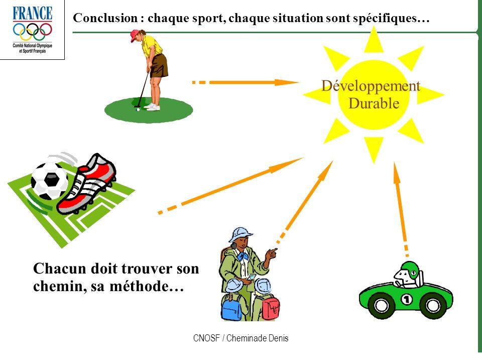 CNOSF / Cheminade Denis Développement Durable Chacun doit trouver son chemin, sa méthode… Conclusion : chaque sport, chaque situation sont spécifiques