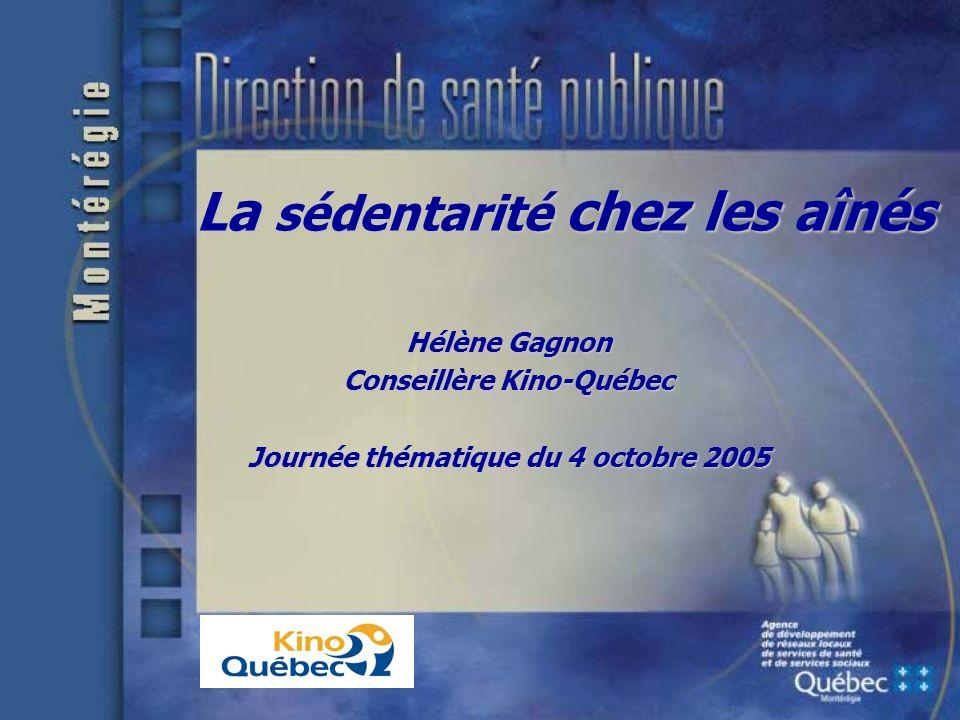 La sédentarité chez les aînés Hélène Gagnon Conseillère Kino-Québec Journée thématique du 4 octobre 2005