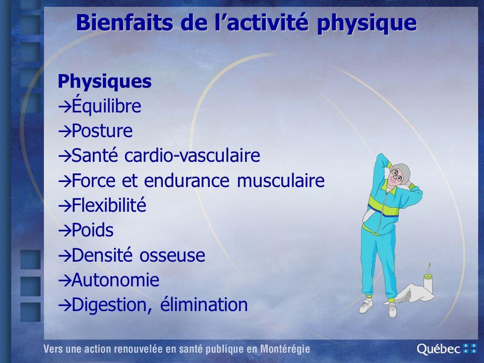 Bienfaits de lactivité physique Physiques à à Équilibre à Posture à Santé cardio-vasculaire à Force et endurance musculaire à Flexibilité à Poids à De