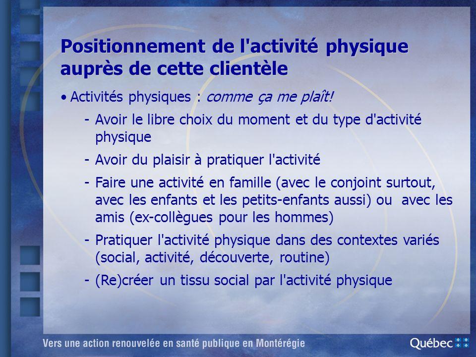Positionnement de l'activité physique auprès de cette clientèle Activités physiques : comme ça me plaît! -Avoir le libre choix du moment et du type d'
