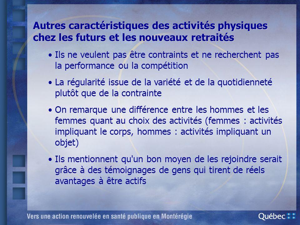 Autres caractéristiques des activités physiques chez les futurs et les nouveaux retraités Ils ne veulent pas être contraints et ne recherchent pas la