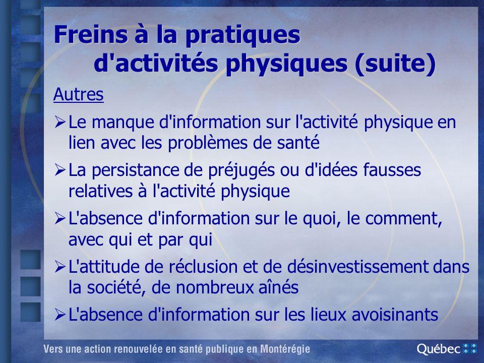 Autres Le manque d'information sur l'activité physique en lien avec les problèmes de santé La persistance de préjugés ou d'idées fausses relatives à l