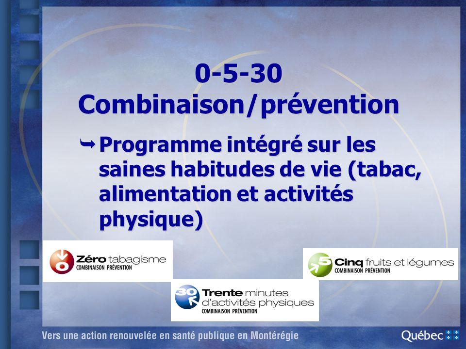 0-5-30 Combinaison/prévention Programme intégré sur les saines habitudes de vie (tabac, alimentation et activités physique) Programme intégré sur les
