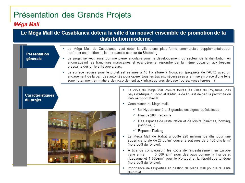 Méga Mall Présentation des Grands Projets Le Méga Mall de Casablanca dotera la ville dun nouvel ensemble de promotion de la distribution moderne. Le M