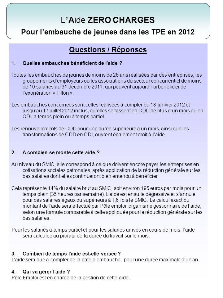 . Questions / Réponses 1.Quelles embauches bénéficient de laide ? Toutes les embauches de jeunes de moins de 26 ans réalisées par des entreprises, les