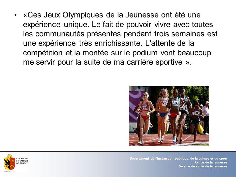 Département de l'instruction publique, de la culture et du sport Office de la jeunesse Service de santé de la jeunesse «Ces Jeux Olympiques de la Jeun