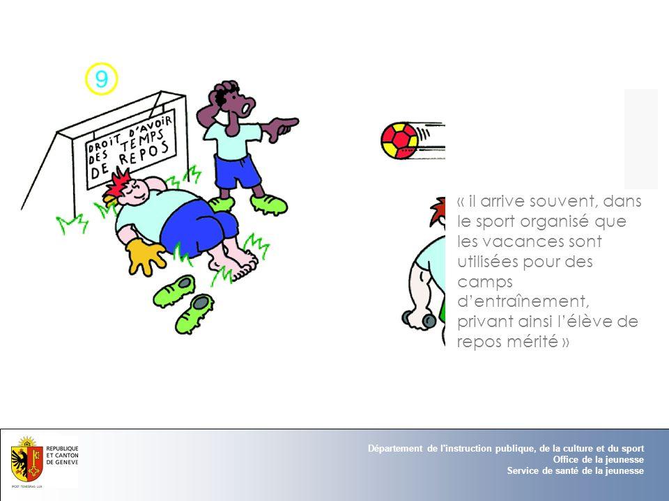 Département de l'instruction publique, de la culture et du sport Office de la jeunesse Service de santé de la jeunesse « il arrive souvent, dans le sp