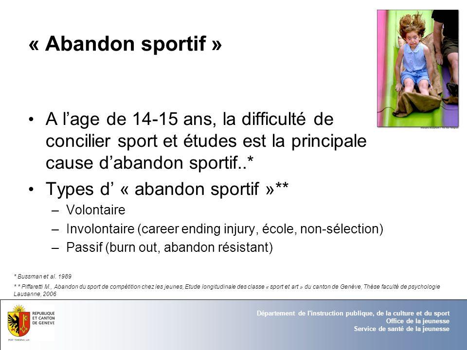 Département de l'instruction publique, de la culture et du sport Office de la jeunesse Service de santé de la jeunesse « Abandon sportif » A lage de 1
