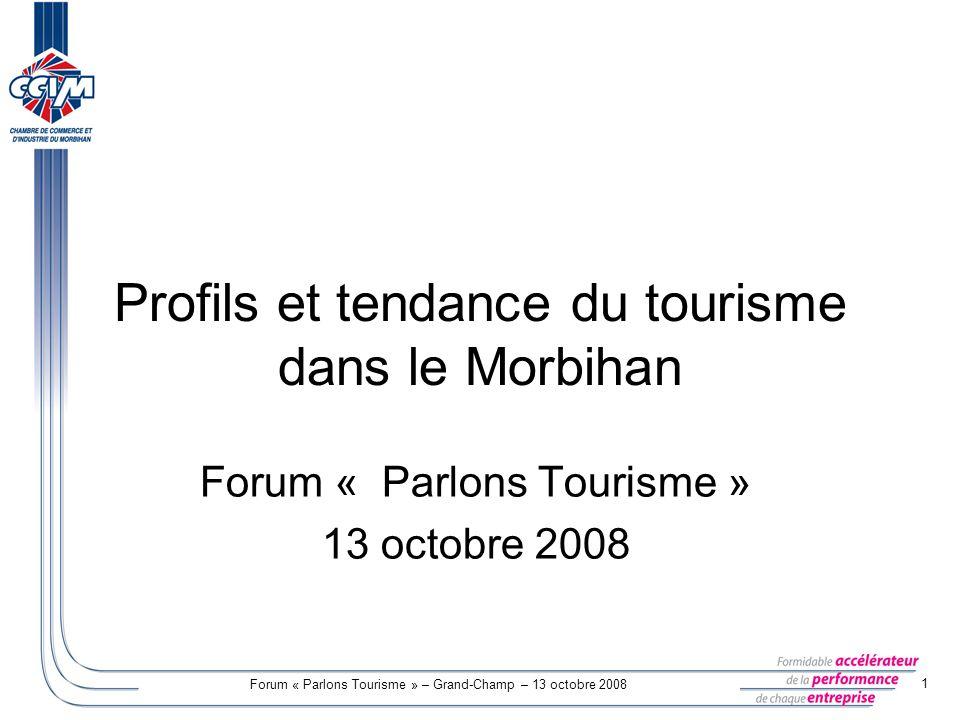 Forum « Parlons Tourisme » – Grand-Champ – 13 octobre 2008 1 Profils et tendance du tourisme dans le Morbihan Forum « Parlons Tourisme » 13 octobre 20