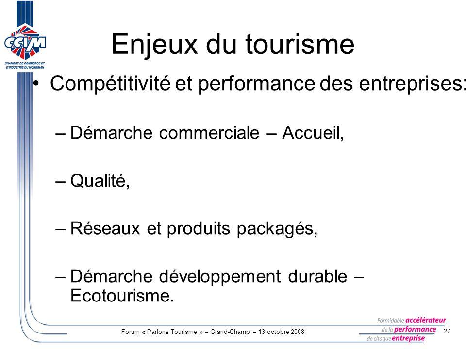 Forum « Parlons Tourisme » – Grand-Champ – 13 octobre 2008 27 Enjeux du tourisme Compétitivité et performance des entreprises: –Démarche commerciale –