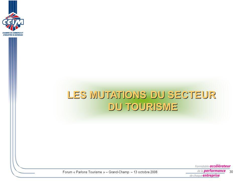 Forum « Parlons Tourisme » – Grand-Champ – 13 octobre 2008 30 LES MUTATIONS DU SECTEUR DU TOURISME