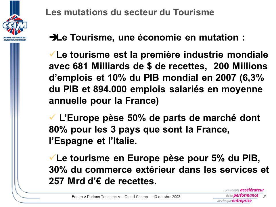 Forum « Parlons Tourisme » – Grand-Champ – 13 octobre 2008 31 Le Tourisme, une économie en mutation : Le tourisme est la première industrie mondiale a