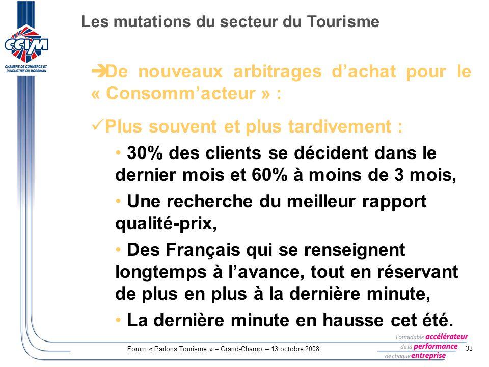 Forum « Parlons Tourisme » – Grand-Champ – 13 octobre 2008 33 De nouveaux arbitrages dachat pour le « Consommacteur » : Plus souvent et plus tardiveme