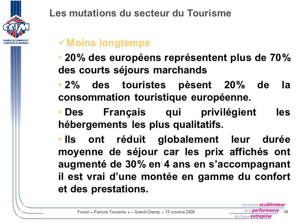 Forum « Parlons Tourisme » – Grand-Champ – 13 octobre 2008 34 Moins longtemps : 20% des européens représentent plus de 70% des courts séjours marchand