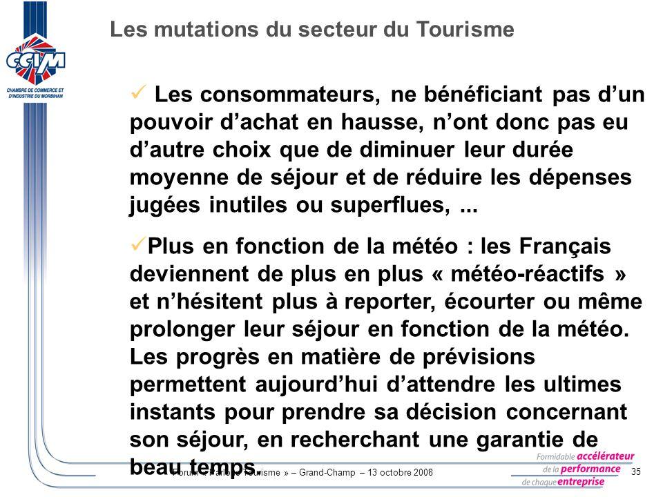 Forum « Parlons Tourisme » – Grand-Champ – 13 octobre 2008 35 Les consommateurs, ne bénéficiant pas dun pouvoir dachat en hausse, nont donc pas eu dau