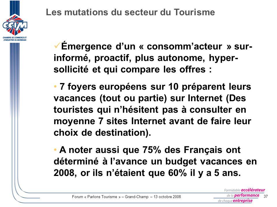 Forum « Parlons Tourisme » – Grand-Champ – 13 octobre 2008 37 Émergence dun « consommacteur » sur- informé, proactif, plus autonome, hyper- sollicité