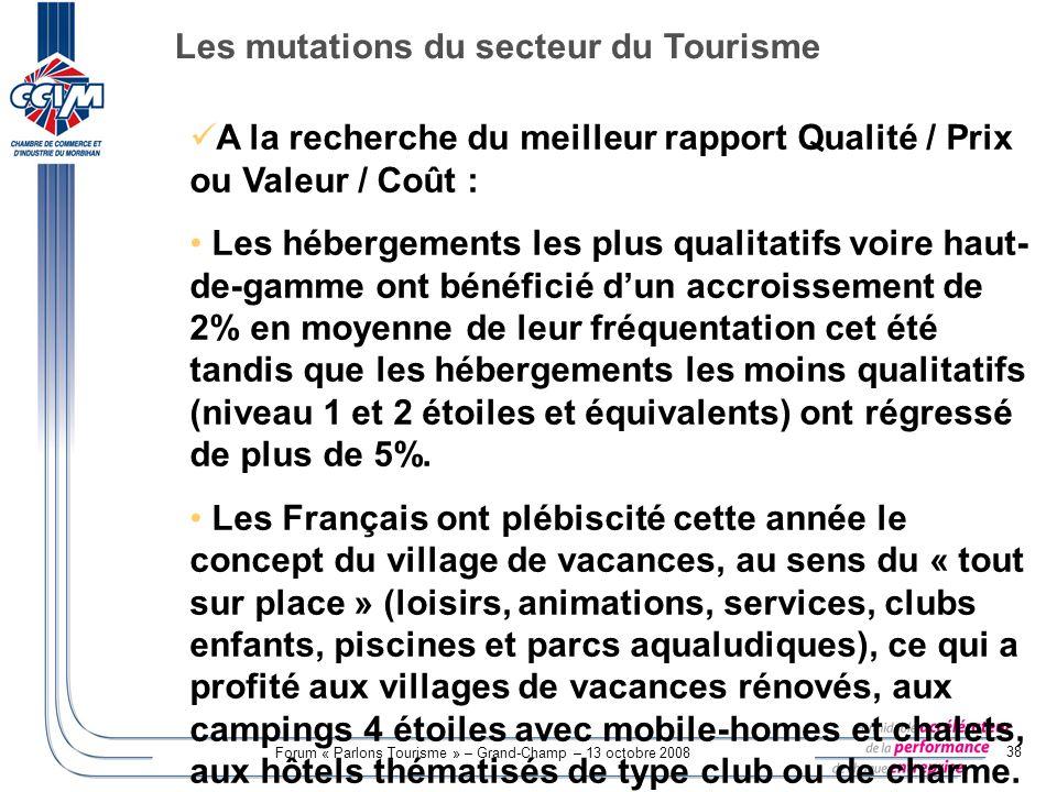 Forum « Parlons Tourisme » – Grand-Champ – 13 octobre 2008 38 A la recherche du meilleur rapport Qualité / Prix ou Valeur / Coût : Les hébergements le