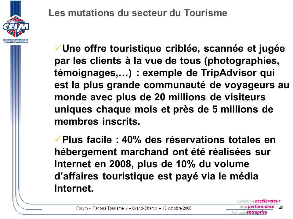 Forum « Parlons Tourisme » – Grand-Champ – 13 octobre 2008 40 Une offre touristique criblée, scannée et jugée par les clients à la vue de tous (photog