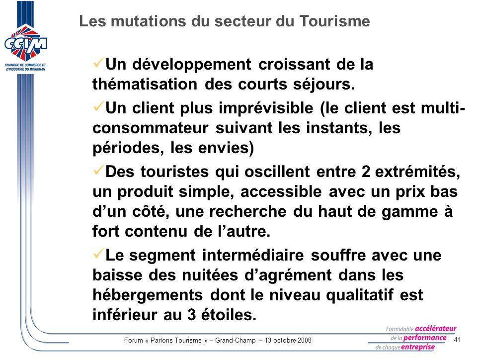 Forum « Parlons Tourisme » – Grand-Champ – 13 octobre 2008 41 Un développement croissant de la thématisation des courts séjours. Un client plus imprév