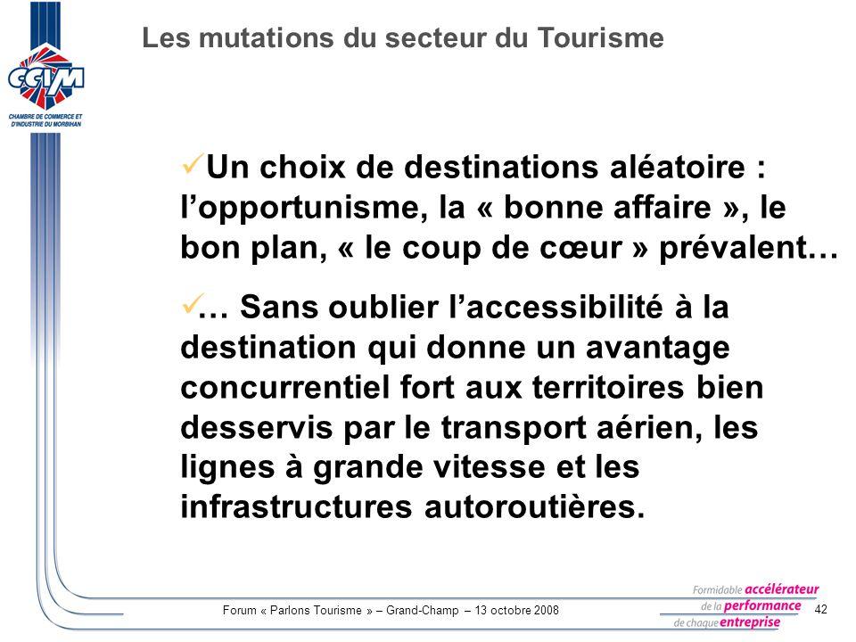 Forum « Parlons Tourisme » – Grand-Champ – 13 octobre 2008 42 Un choix de destinations aléatoire : lopportunisme, la « bonne affaire », le bon plan, «