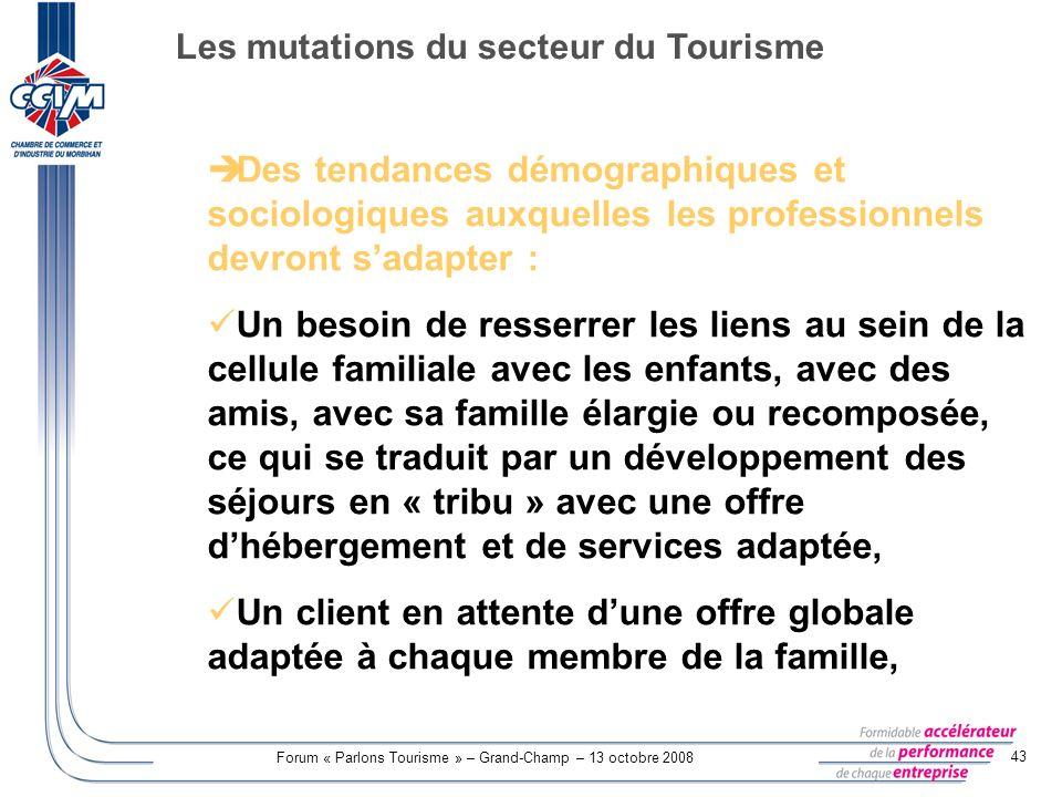 Forum « Parlons Tourisme » – Grand-Champ – 13 octobre 2008 43 Des tendances démographiques et sociologiques auxquelles les professionnels devront sada