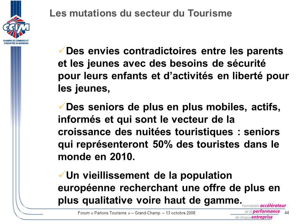 Forum « Parlons Tourisme » – Grand-Champ – 13 octobre 2008 44 Des envies contradictoires entre les parents et les jeunes avec des besoins de sécurité