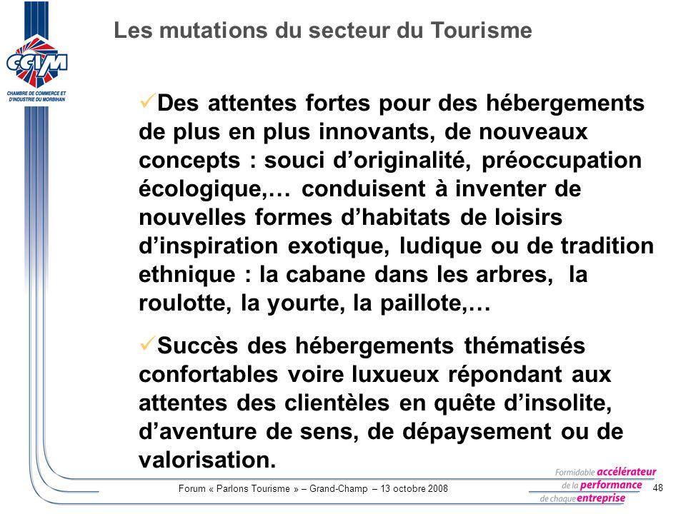 Forum « Parlons Tourisme » – Grand-Champ – 13 octobre 2008 48 Des attentes fortes pour des hébergements de plus en plus innovants, de nouveaux concept
