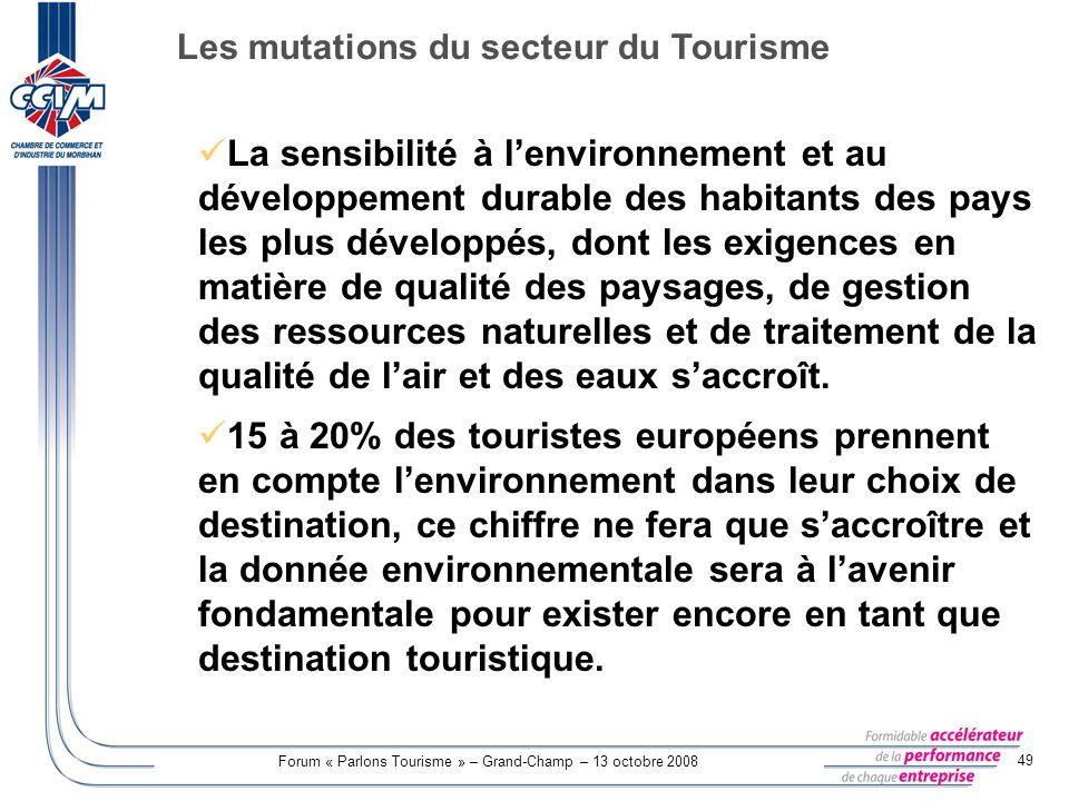 Forum « Parlons Tourisme » – Grand-Champ – 13 octobre 2008 49 La sensibilité à lenvironnement et au développement durable des habitants des pays les p