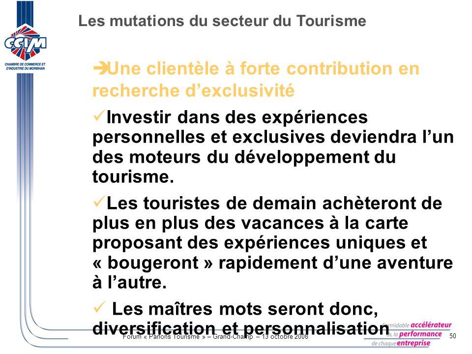 Forum « Parlons Tourisme » – Grand-Champ – 13 octobre 2008 50 Une clientèle à forte contribution en recherche dexclusivité Investir dans des expérienc