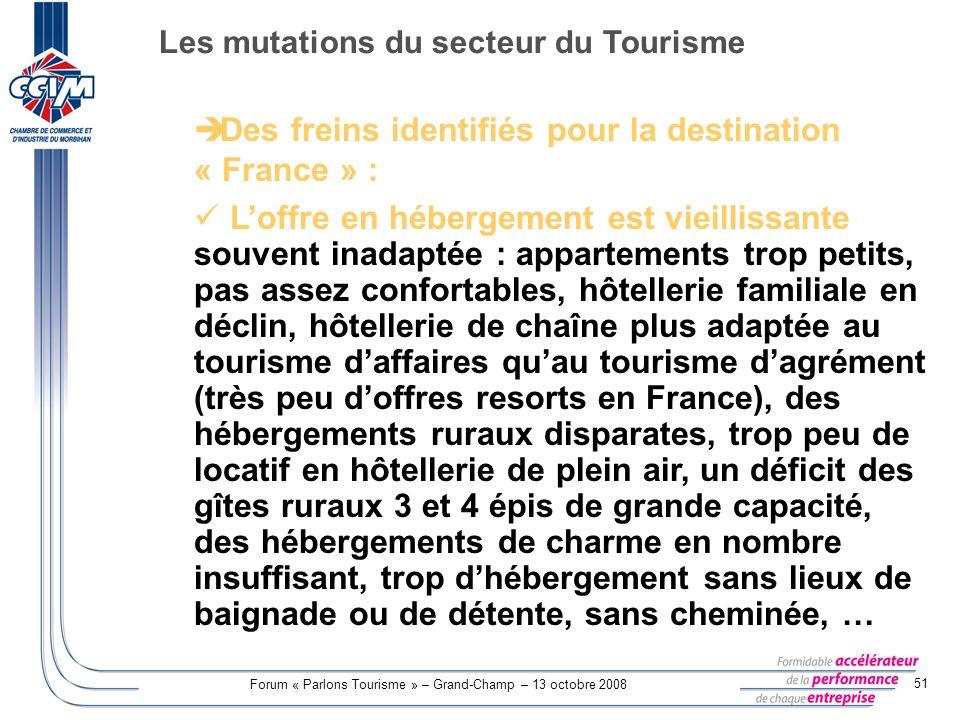Forum « Parlons Tourisme » – Grand-Champ – 13 octobre 2008 51 Des freins identifiés pour la destination « France » : Loffre en hébergement est vieilli