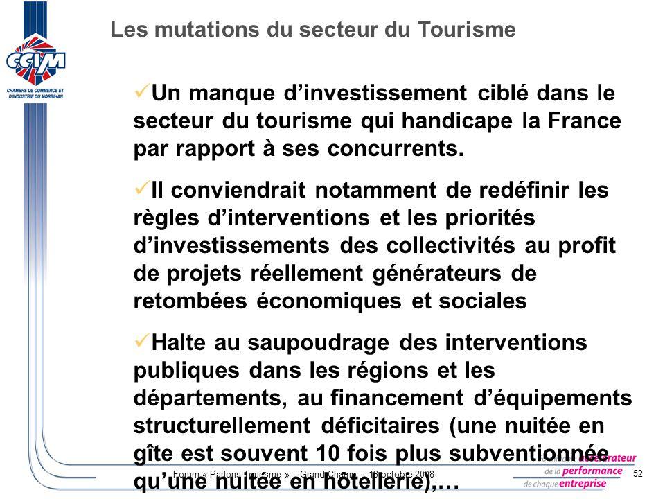 Forum « Parlons Tourisme » – Grand-Champ – 13 octobre 2008 52 Un manque dinvestissement ciblé dans le secteur du tourisme qui handicape la France par