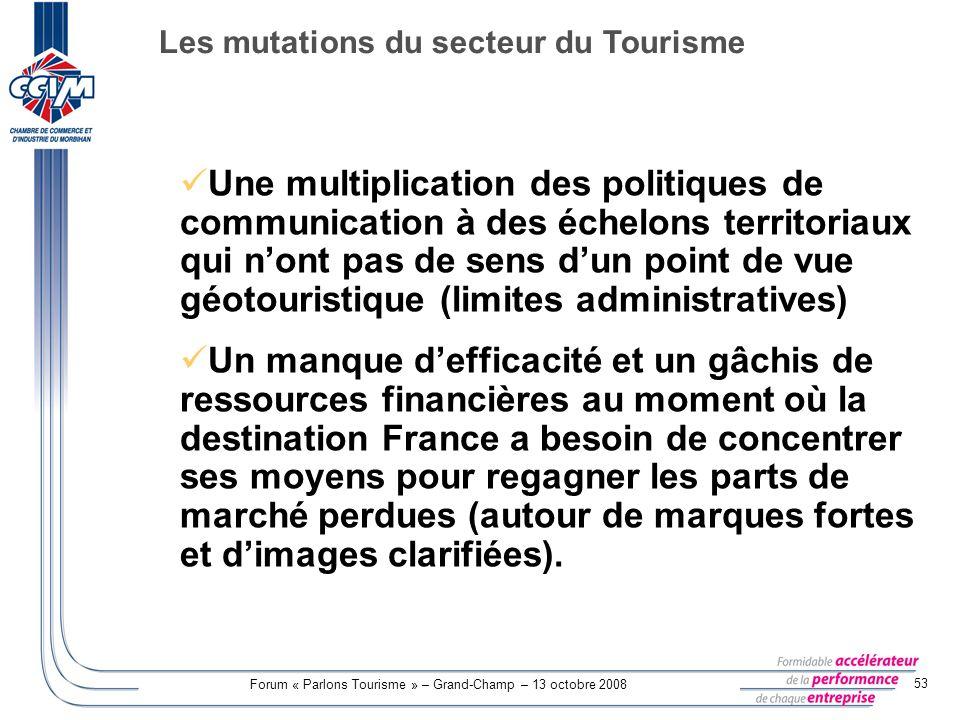Forum « Parlons Tourisme » – Grand-Champ – 13 octobre 2008 53 Une multiplication des politiques de communication à des échelons territoriaux qui nont