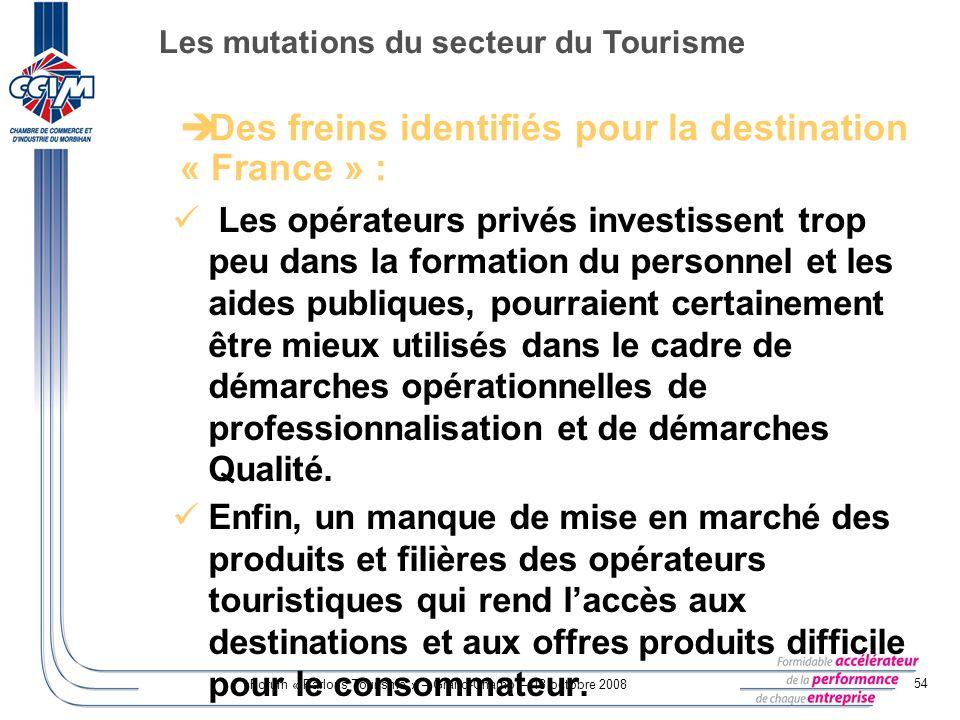 Forum « Parlons Tourisme » – Grand-Champ – 13 octobre 2008 54 Les opérateurs privés investissent trop peu dans la formation du personnel et les aides
