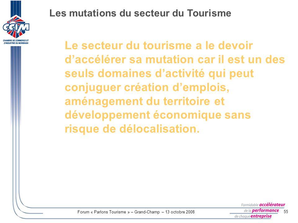 Forum « Parlons Tourisme » – Grand-Champ – 13 octobre 2008 55 Le secteur du tourisme a le devoir daccélérer sa mutation car il est un des seuls domain