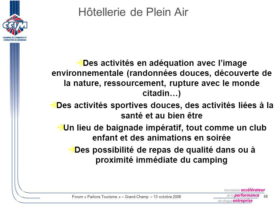 Forum « Parlons Tourisme » – Grand-Champ – 13 octobre 2008 68 Des activités en adéquation avec limage environnementale (randonnées douces, découverte