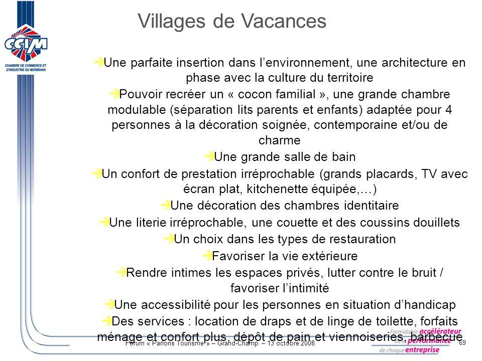 Forum « Parlons Tourisme » – Grand-Champ – 13 octobre 2008 69 Une parfaite insertion dans lenvironnement, une architecture en phase avec la culture du