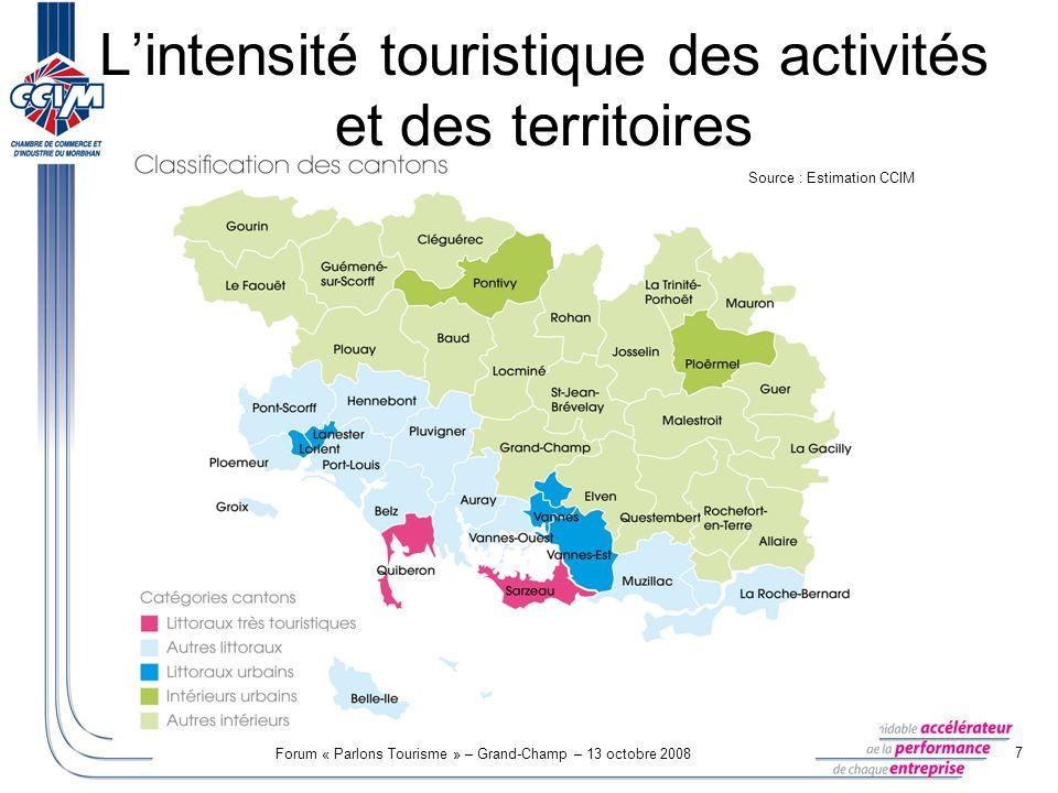 Forum « Parlons Tourisme » – Grand-Champ – 13 octobre 2008 8 Lintensité touristique des activités et des territoires Nombre d établissement au 31/12/2007 LITTORAUX TRES TOURISTIQUES AUTRES LITTORAUX LITTORAUX URBAINS INTERIEURS URBAINS AUTRES INTERIEURS Total ACTIVITES 100% TOURISTIQUES 1662899125172 743 ACTIVITES FORTEMENT TOURISTIQUES 4091 2208802141 116 3 839 ACTIVITES MOYENNEMENT TOURISTIQUES 4181 1901 243237702 3 790 ACTIVITES FAIBLEMENT TOURISTIQUES 3189211 021177598 3 035 ACTIVITES TRES FAIBLEMENT TOURISTIQUES 6196411 46 ACTIVITE TOURISTIQUES 1 3173 6393 2416572 599 11 453 ACTIVITES NON TOURISTIQUES 8904 6544 0419703 559 14 114 Total 2 2078 2937 2821 6276 15825 567 9 000 établissements impactés par le tourisme dans le département, soit 35% des établissements morbihannais.
