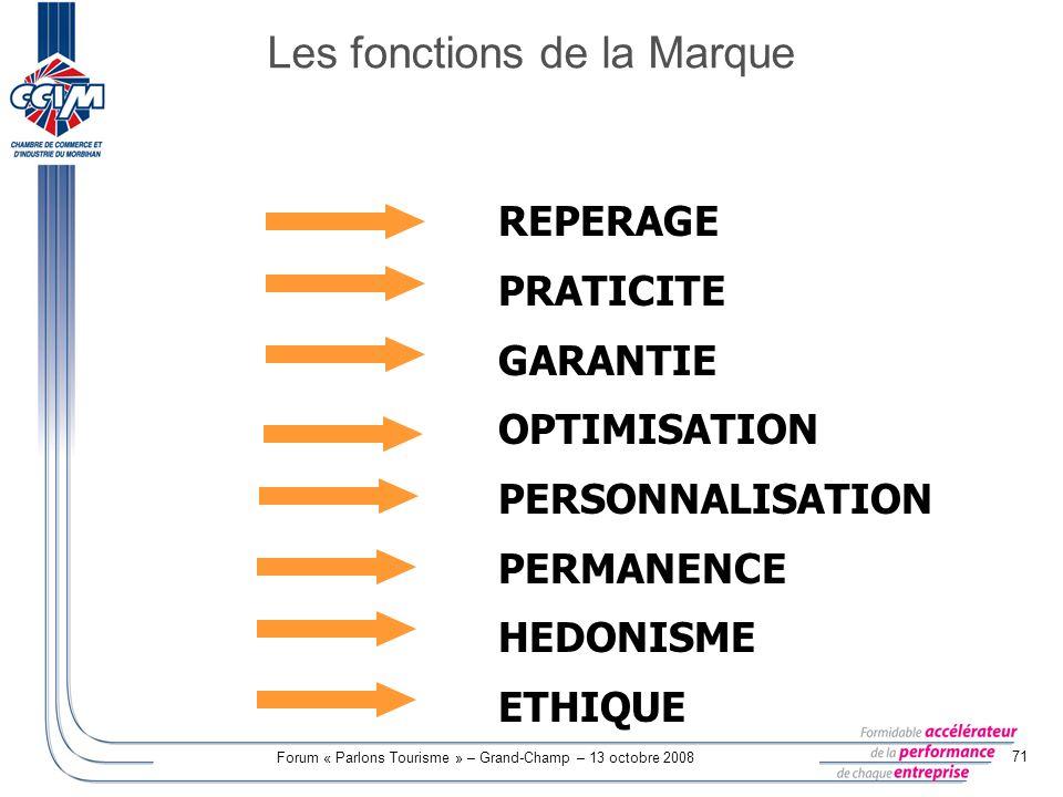 Forum « Parlons Tourisme » – Grand-Champ – 13 octobre 2008 71 REPERAGE PRATICITE GARANTIE OPTIMISATION PERSONNALISATION PERMANENCE HEDONISME ETHIQUE L