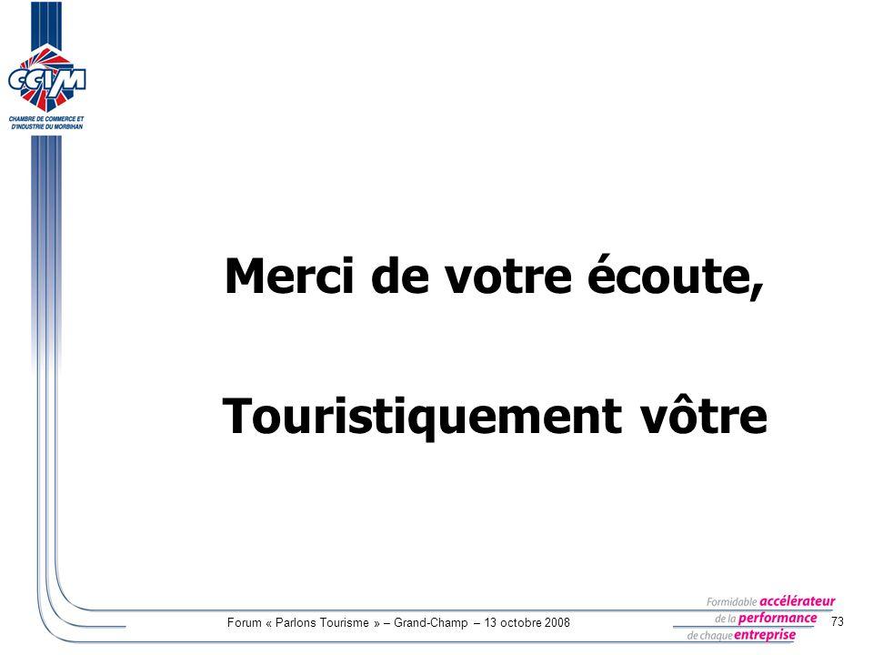 Forum « Parlons Tourisme » – Grand-Champ – 13 octobre 2008 73 Merci de votre écoute, Touristiquement vôtre
