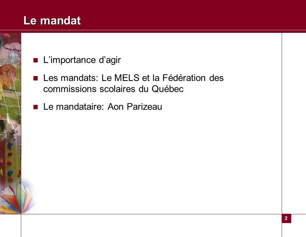 2 Le mandat Limportance dagir Les mandats: Le MELS et la Fédération des commissions scolaires du Québec Le mandataire: Aon Parizeau