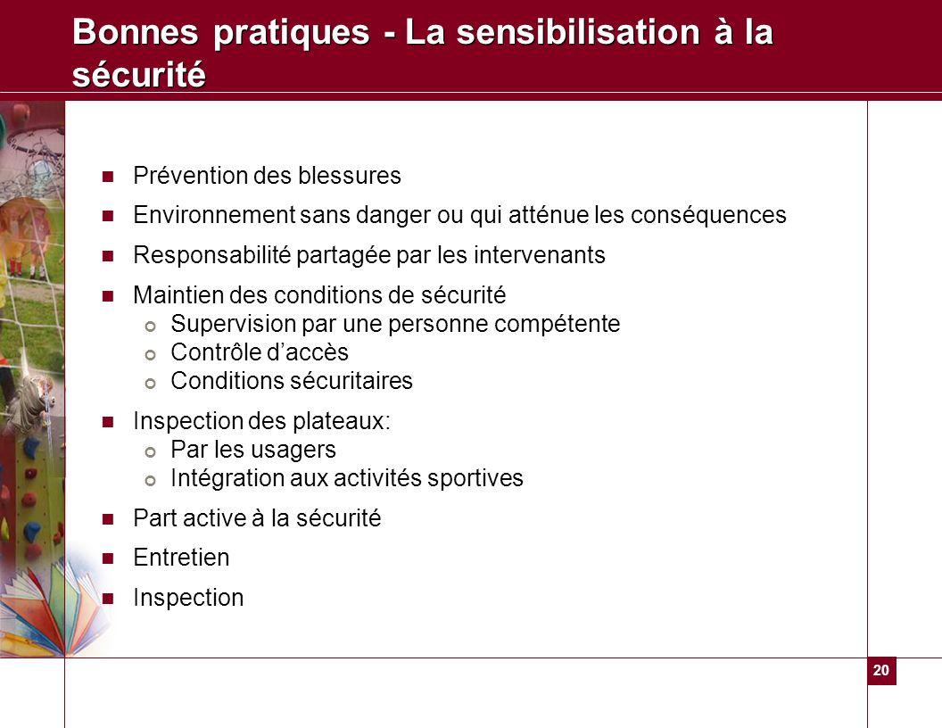 20 Bonnes pratiques - La sensibilisation à la sécurité Prévention des blessures Environnement sans danger ou qui atténue les conséquences Responsabili