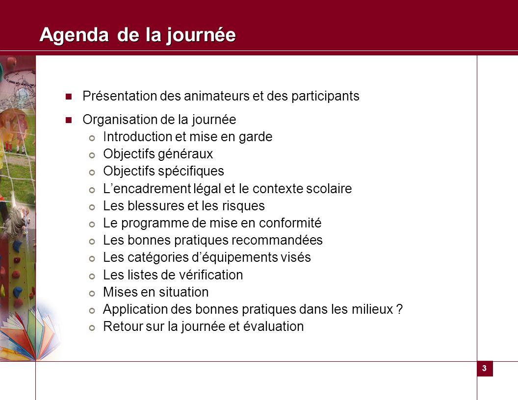 3 Agenda de la journée Présentation des animateurs et des participants Organisation de la journée Introduction et mise en garde Objectifs généraux Obj