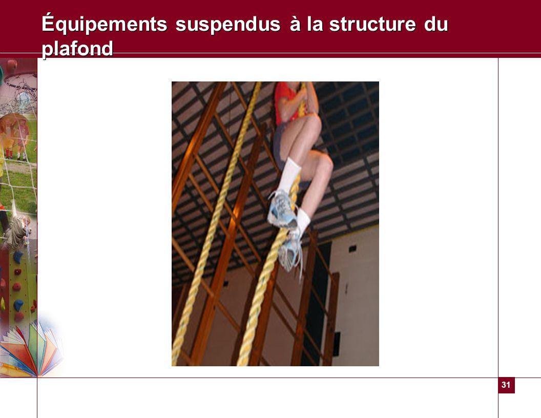 31 Équipements suspendus à la structure du plafond