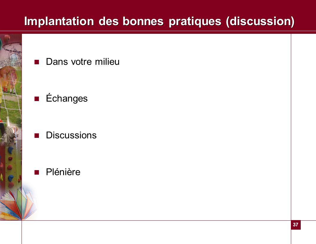 37 Implantation des bonnes pratiques (discussion) Dans votre milieu Échanges Discussions Plénière